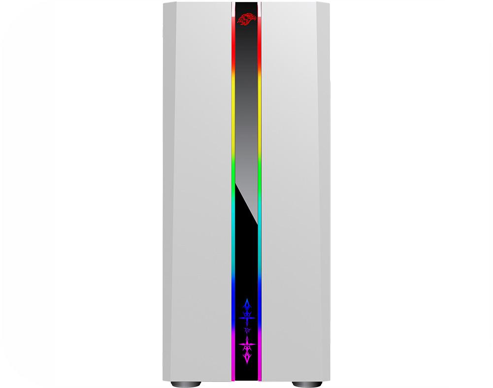 Gabinete Gamer Odyssey Branco CG05RD Painel RGB Rainbow