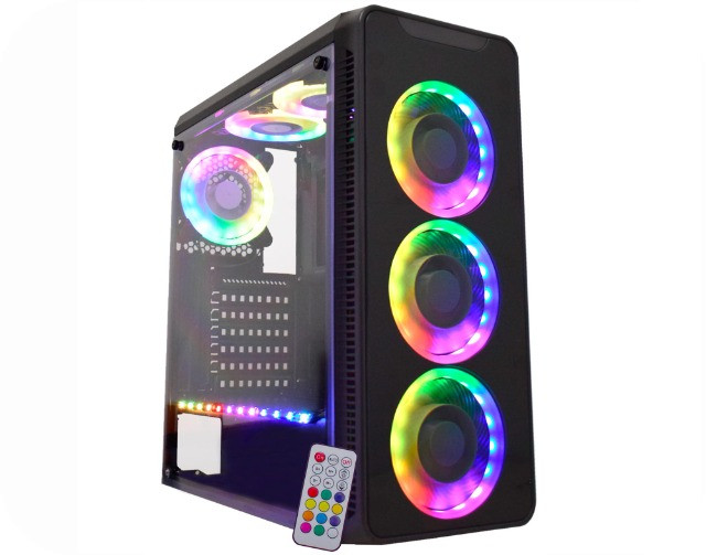 Gabinete Gamer K-mex INFINITY V, mid tower, com 3 fans, lateral acrílico, black