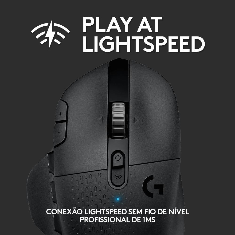 Mouse G604 Hero Logitech, Sem Fio, 16k Lightspeed, Bluetooth, 15 Botões, 16000 DPI - 910-005648