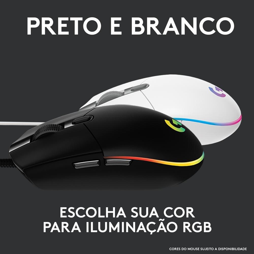 Mouse Gamer G203 Logitech,  RGB Lightsync, 6 Botões, 8000 DPI, Branco - 910-005794