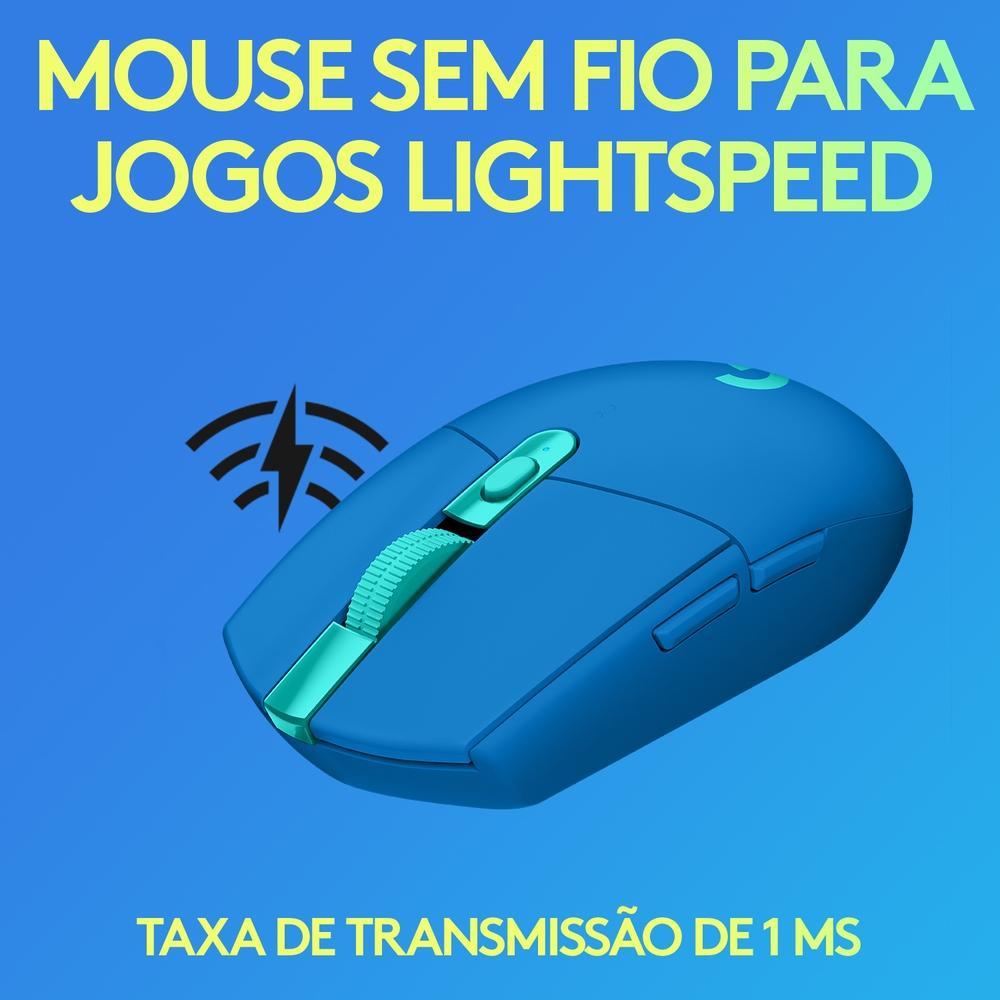 Mouse Gamer G305  Logitech, Sem Fio, Lightspeed, 6 Botões, 12000 DPI, Azul - 910-006013