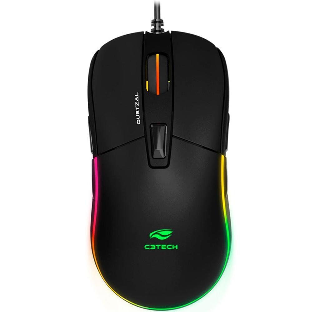 Mouse Gamer Quetzal C3tech, RGB, 8 Botões, 5000DPI, Ambidestro - MG-510BK