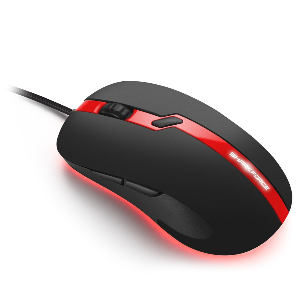 Mouse Gamer Shark Force Pro Sharkoon, Vermelho , Led.