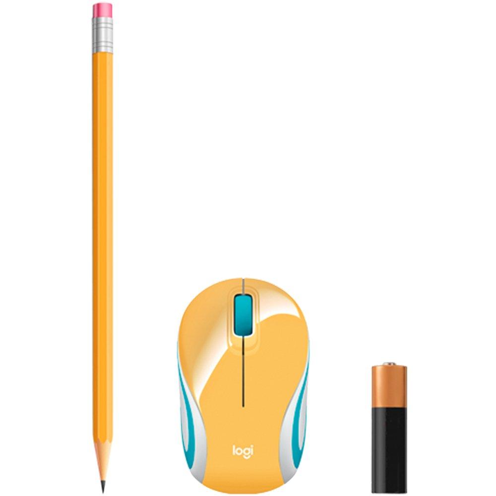 Mouse M187 Logitech, Mini, Sem Fio Amarelo 1000DPI - 910-005365
