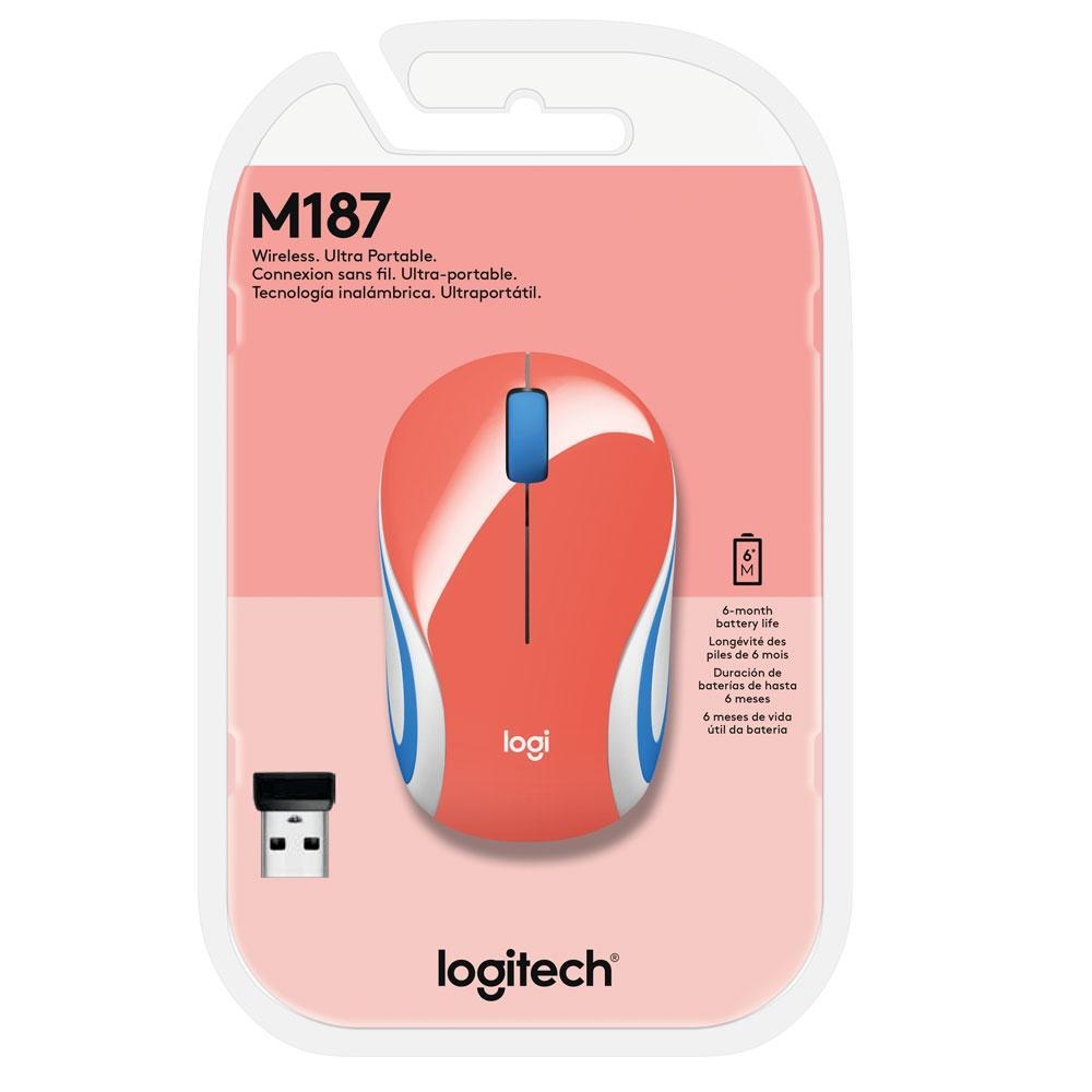 Mouse M187 Logitech, Mini, Sem Fio  Coral 1000DPI - 910-005362