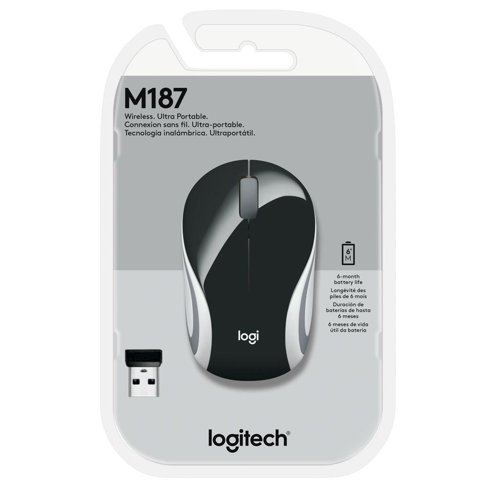 Mouse M187 Logitech, Mini,  Sem Fio Preto 1000DPI - 910-005459