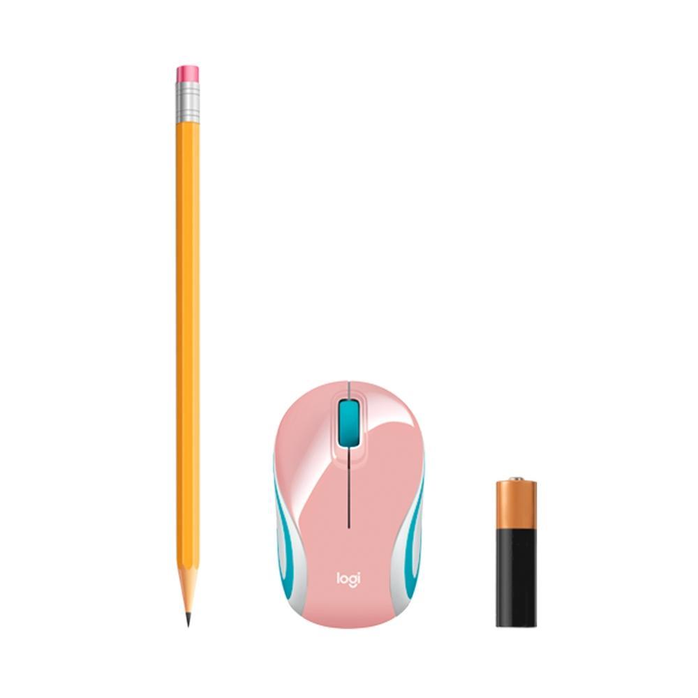 Mouse M187 Logitech, Mini, Sem Fio Rosa 1000DPI - 910-005364