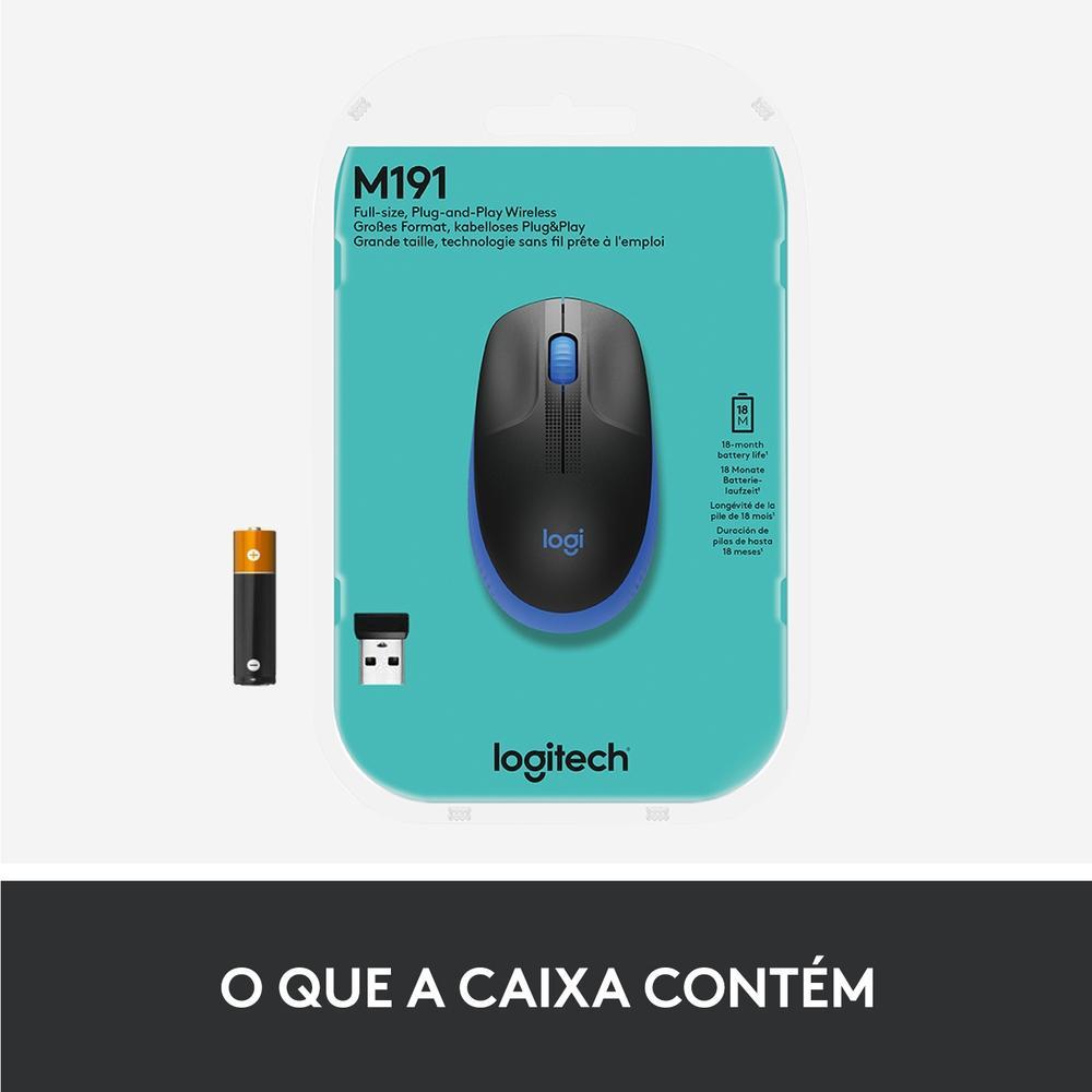 Mouse M190 Logitech, Sem fio, Azul - 910-005903