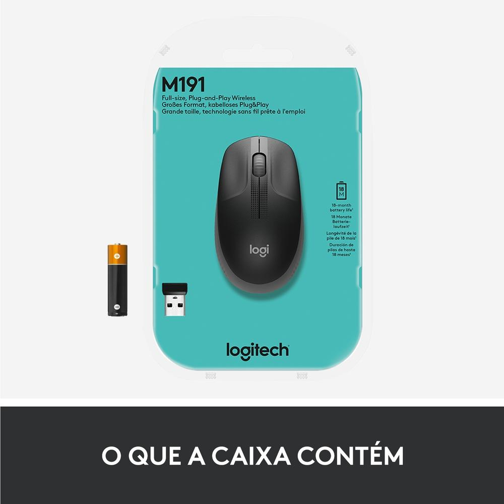 Mouse M190 Logitech, Sem fio,  Cinza - 910-005902
