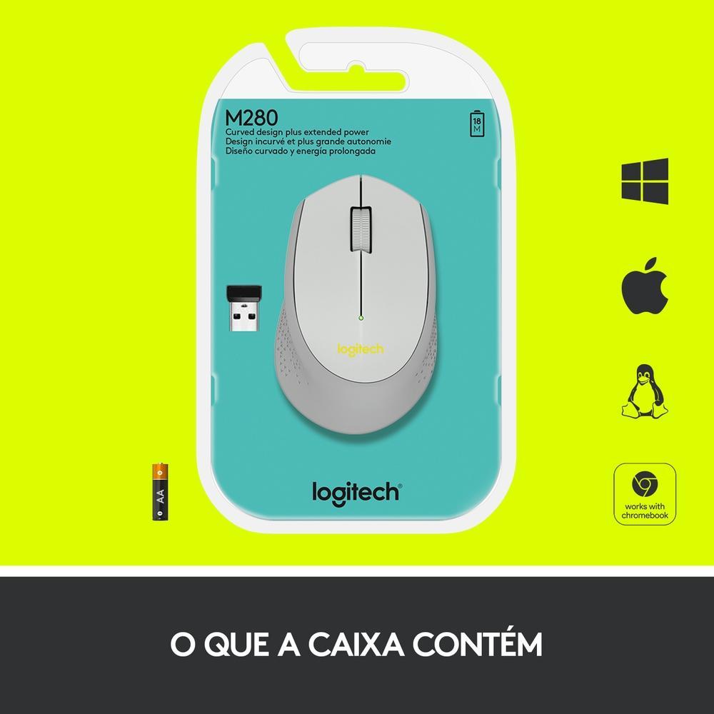 Mouse M280 Logitech, Sem Fio Cinza 1000DPI - 910-004285