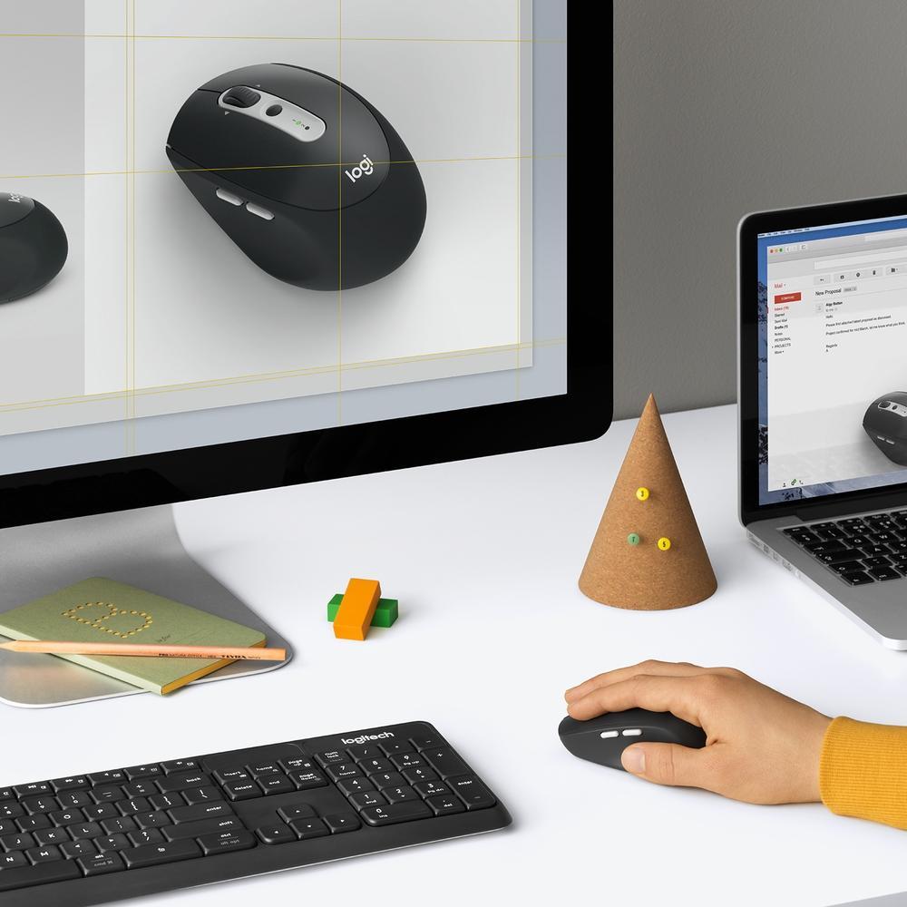 Mouse M585 Logitech, Sem Fio Multi-Device Tecnologia Flow Unifying Preto 1000DPI - 910-005012