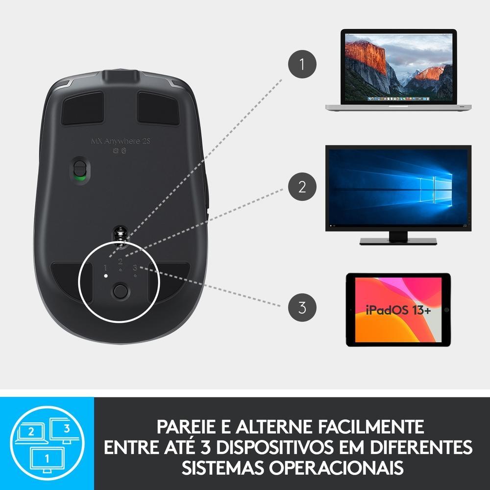 Mouse MX Anywhere 2S Logitech, Sem Fio Recarregável Tecnologia Flow Unifying Cinza 4000DPI - 910-005132