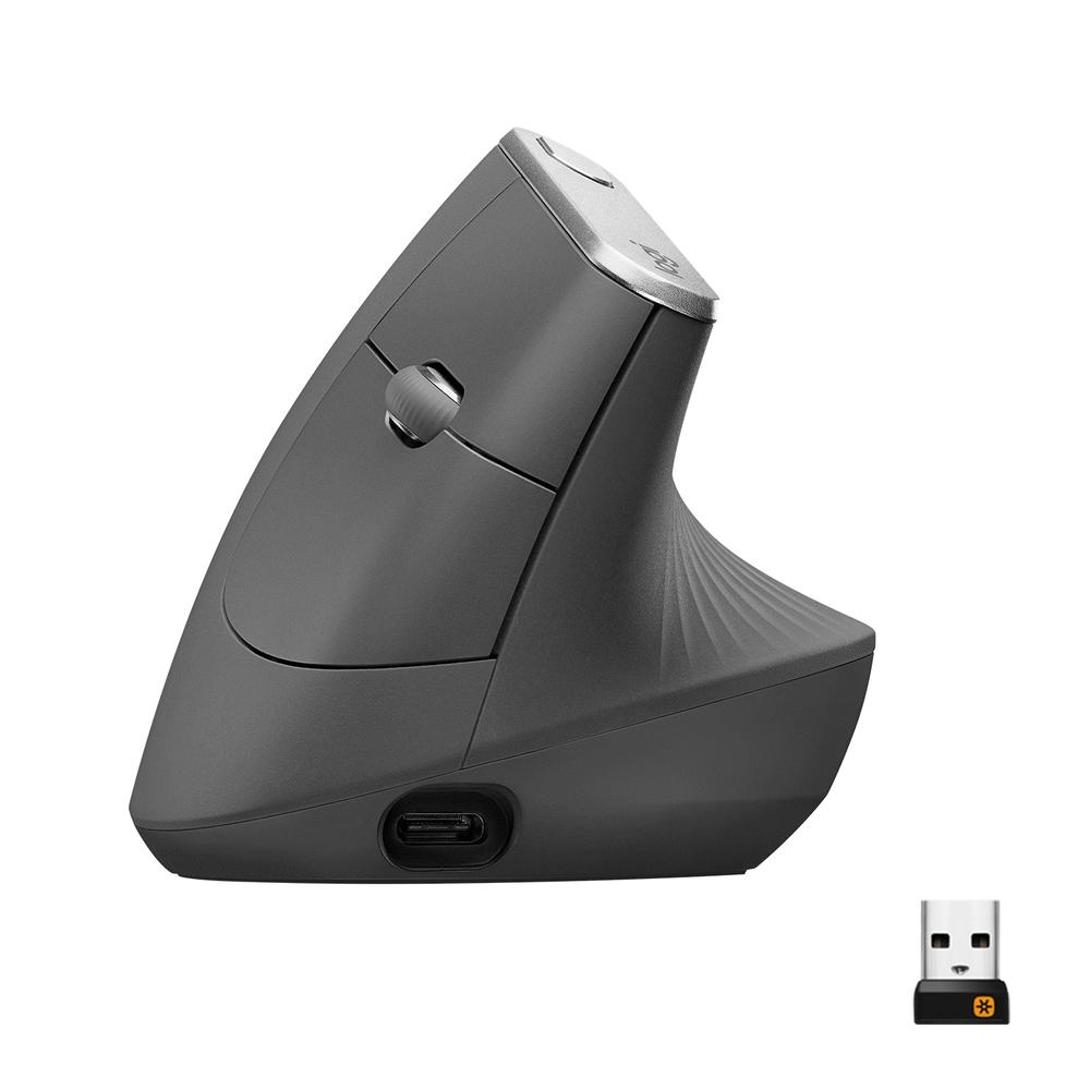 Mouse  MX Vertical Logitech, Sem Fio Recarregável Tecnologia Flow Unifying Cinza 4000DPI - 910-005447