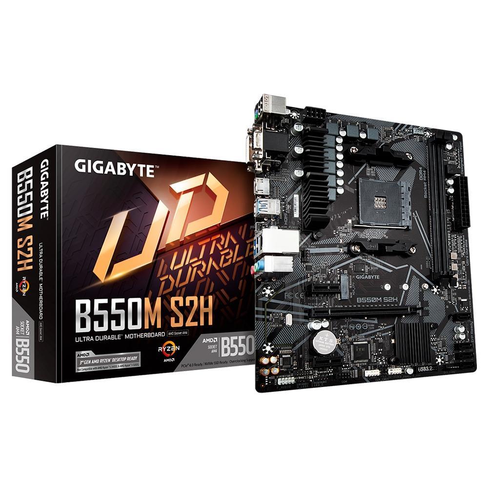 Placa-Mãe Gigabyte B550M S2H, AMD AM4, Micro ATX, DDR4