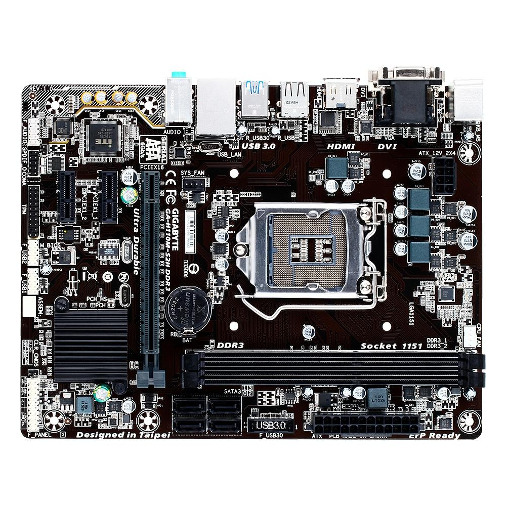 Placa-Mãe Gigabyte GA-H110M-S2H, Intel LGA1151, Micro ATX, DDR3