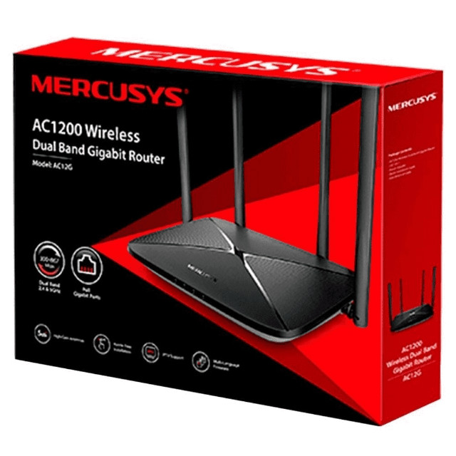 Roteador Wireless Mercusys  Dual Band, 4 antenas - AC1200
