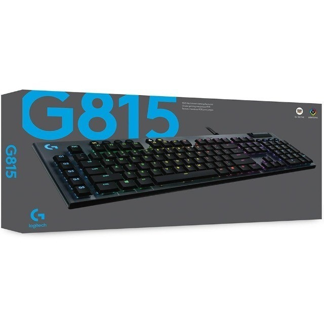 Teclado mecânico Gamer  G815,  Logitech, design ultrafino, RGB, switch gl tactile marrom, US - 920-008984