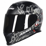 CAPACETE AXXIS EAGLE BULL CYBER MATTE BLACK/GREY 62/XL