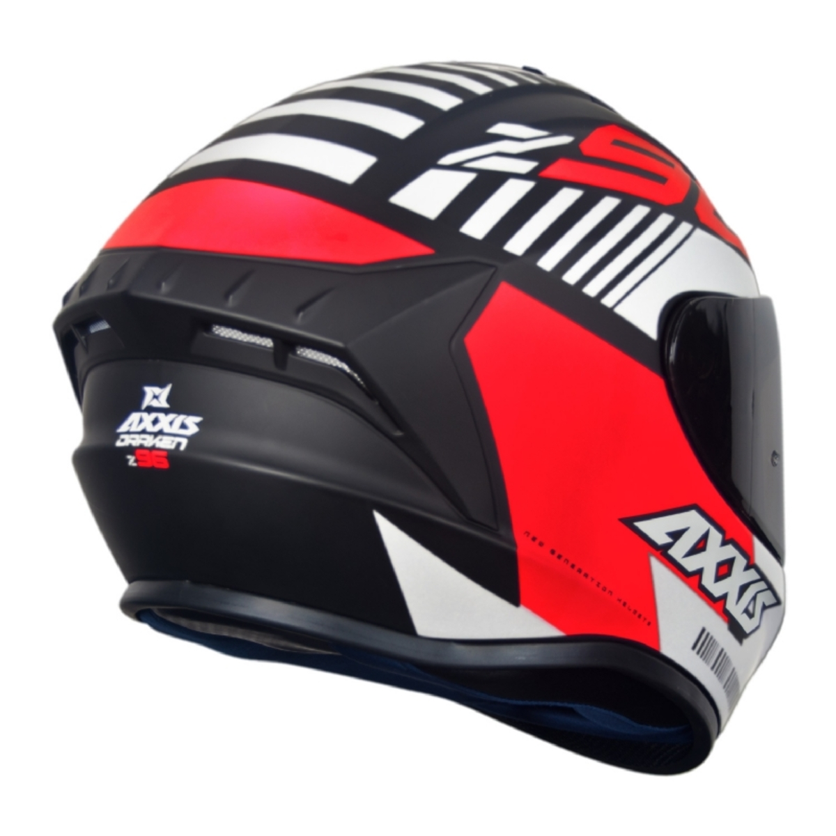 CAPACETE AXXIS DRAKEN Z96 MATTE BLACK/RED/WHITE 62/XL