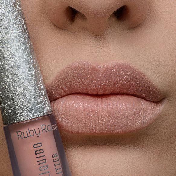 Batom Líquido  Kisses Glitter 354 - Ruby Rose