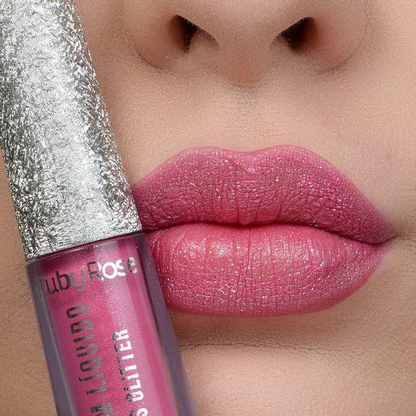 Batom Líquido  Kisses Glitter 357 - Ruby Rose