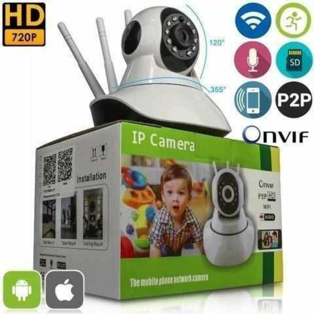 Câmera IP 3 Antenas Sem Fio 360°