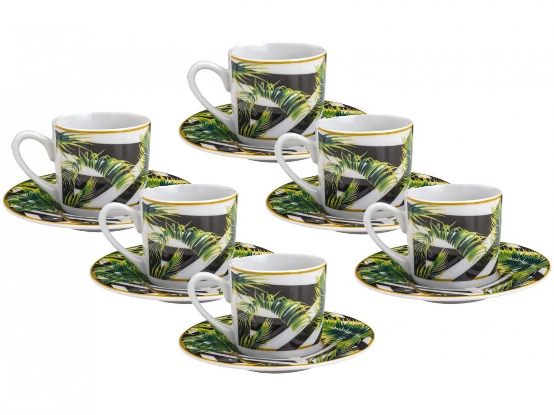 Conjunto 6 xícaras de porcelana para café com pires - 90ml - tropical garden