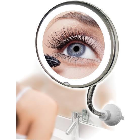 Espelho Flexível com Ventosa e Iluminação - Aumenta 10 X