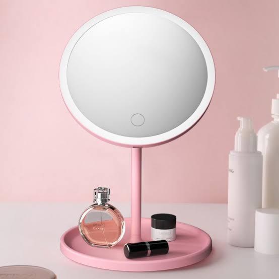 Espelho para Maquiagem com LED e Bandeja - Recarregável
