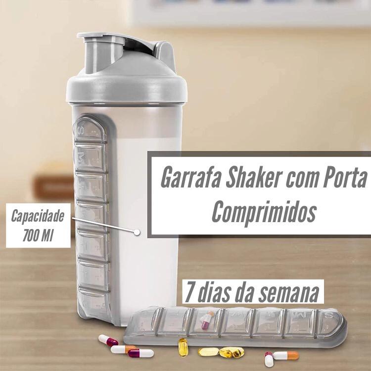 Garrafa Shaker com Porta Comprimidos