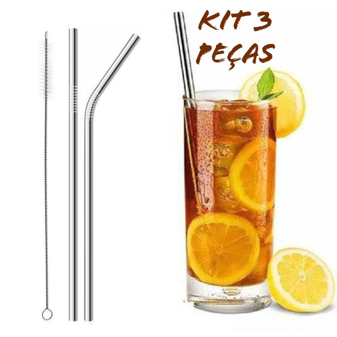 Kit 2 Canudos de Inox + Escova de Limpeza