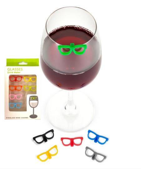 Kit Com 6 Marcadores De Taça E Copos Em Silicone Óculos
