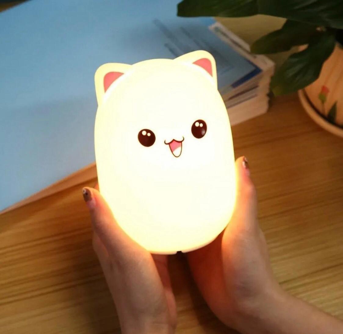 Luminária Gato Silicone Recarregável - Bivolt