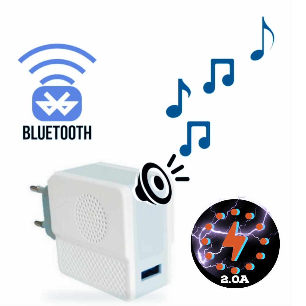 Tomada Carregador com Som Bluetooth Embutido