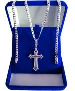 Corrente Grumet 70cm 5 Mm E Pingente Crucifixo Prata Maciça