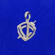 Pingente Prata 925 Cruz Escudo Fé Médio Legítimo Maciço