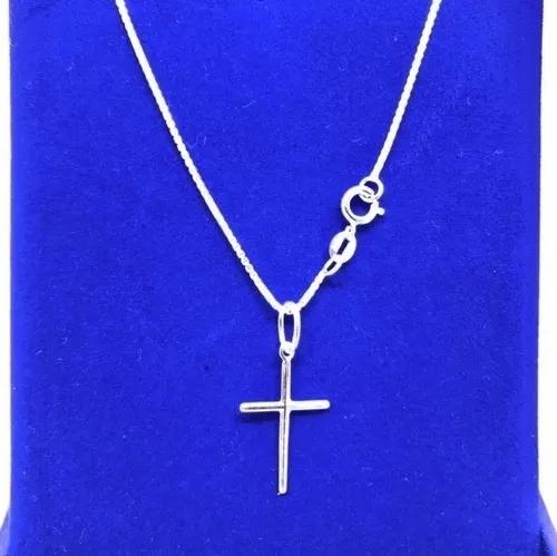 Cordão Corrente Veneziana Em Prata 925 60cm E Pingente Cruz