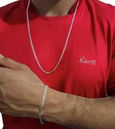 Cordão E Pulseira 3 Mm Prata 925 70 Cm Grumet Italiana