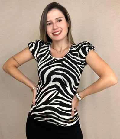 Blusa M/C malha zebra.