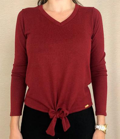Blusa M/L malha tricot com nó