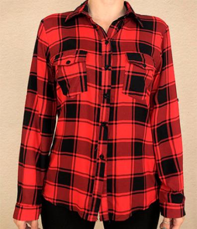 Camisa M/L Viscose Xadrez