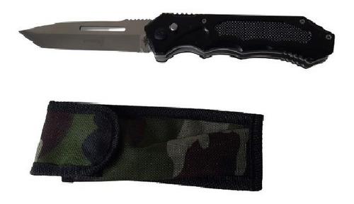 Canivete Abertura Automático 24cm Aço Inox com Bainha