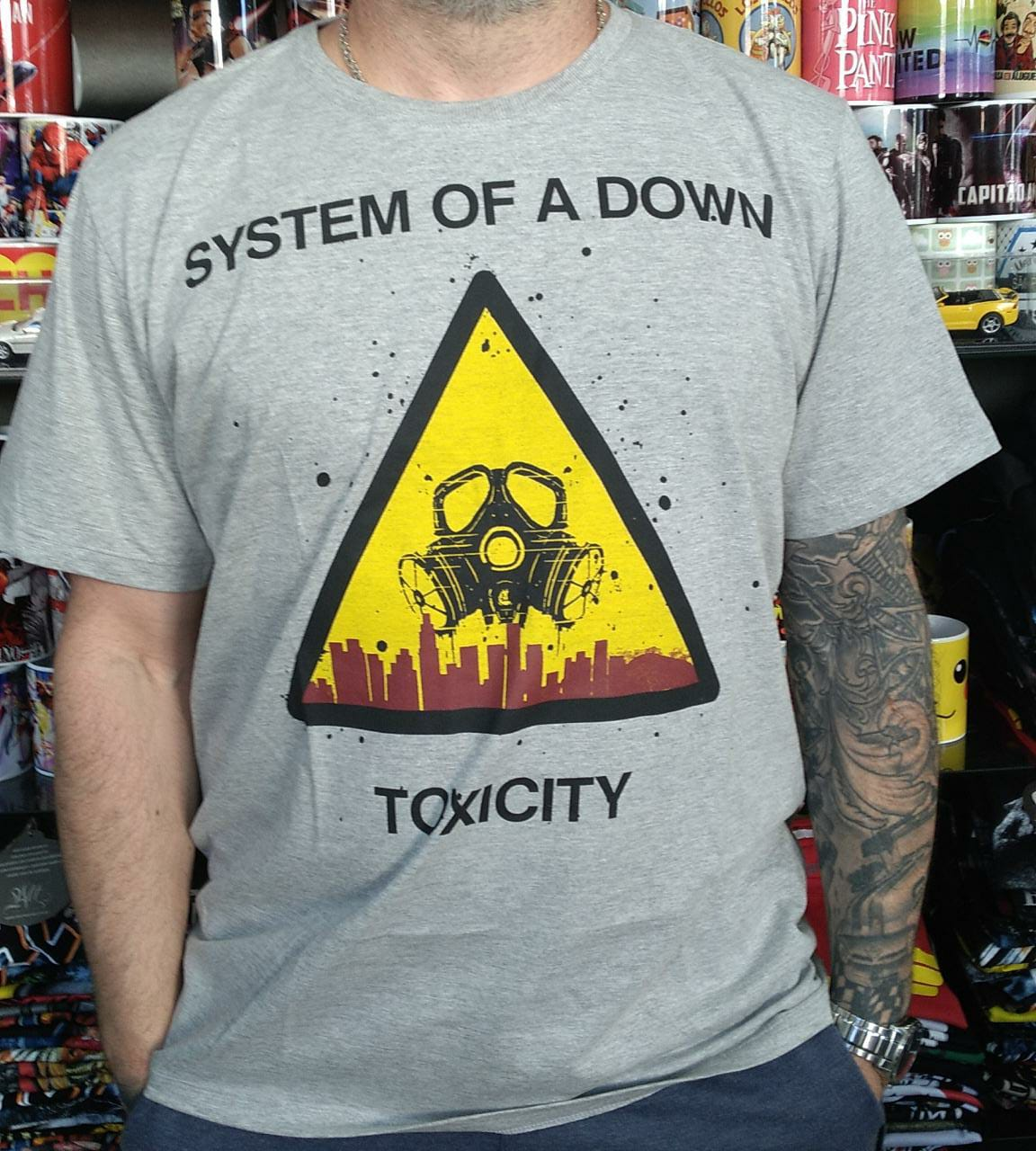 CAMISETA SYSTEM OF DOWN TOXICITY CINZA MESCLA