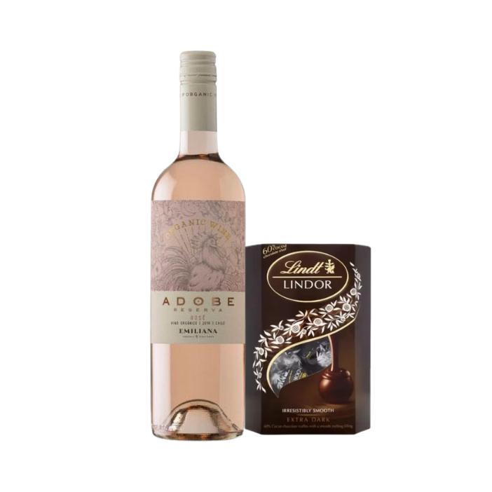 Kit Vinho Chileno Rosé Orgânico Emiliana Adobe e Chocolate Lindt Dark 60% LIndor Balls 200G