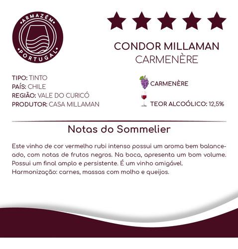 Vinho Chileno Tinto Condor Millaman Carmenere Garrafa 750ML
