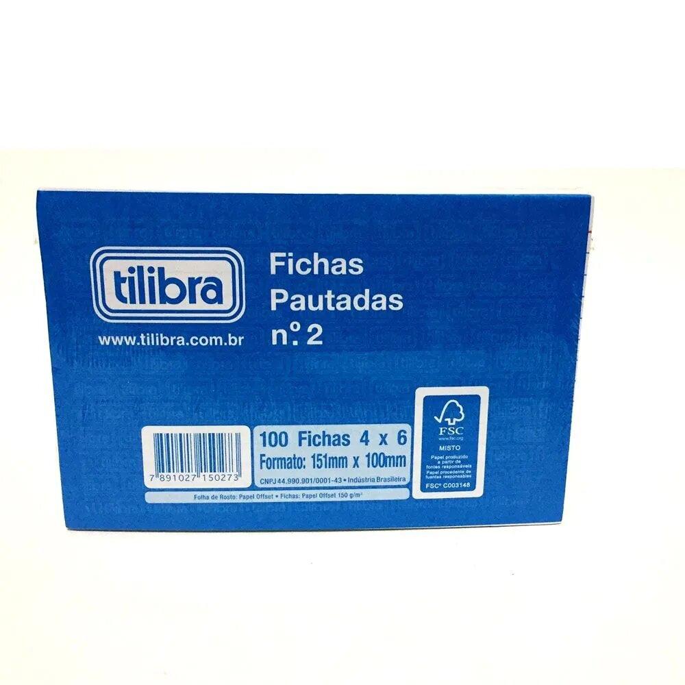 BLOCO DE FICHAS PAUTADAS N° 2 TILIBRA 100 FICHAS 4 X 6