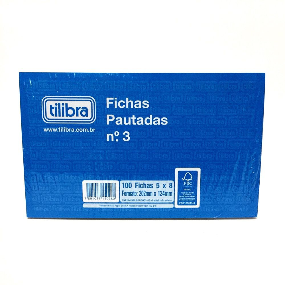 BLOCO DE FICHAS PAUTADAS N° 3 TILIBRA 100 FICHAS 5 X 8