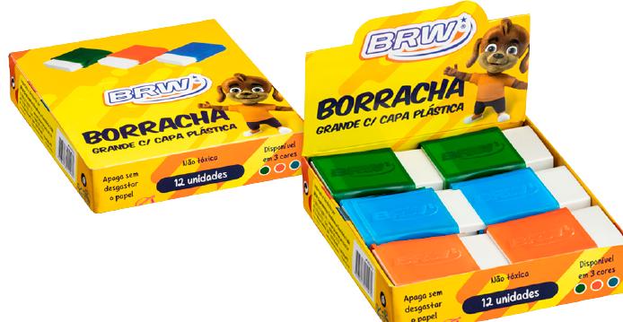 BORRACHA PLÁSTICA GRANDE BRW - CAIXA COM 12UN