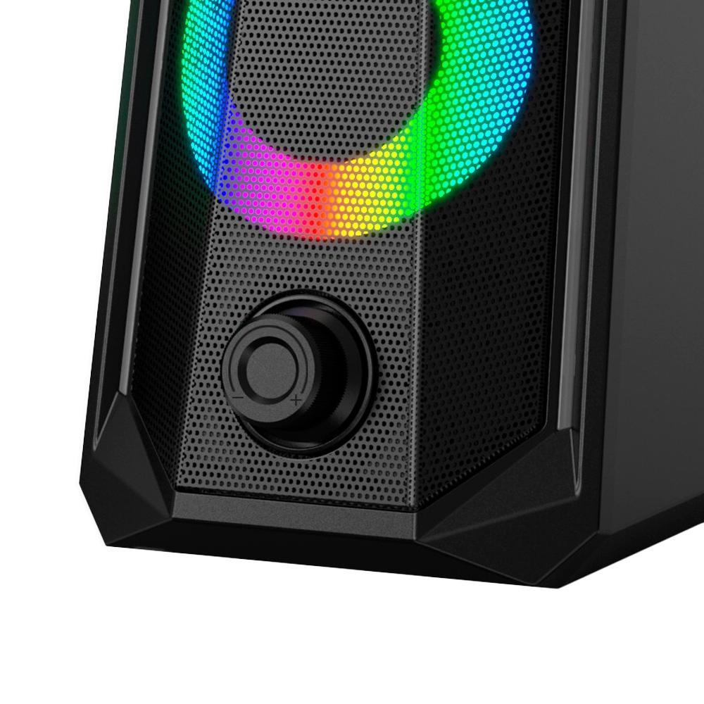 CAIXA DE SOM GAMER HAVIT RGB, CONEXÃO 3.5mm/USB, ESTÉREO 2.0, PRETO - SK202