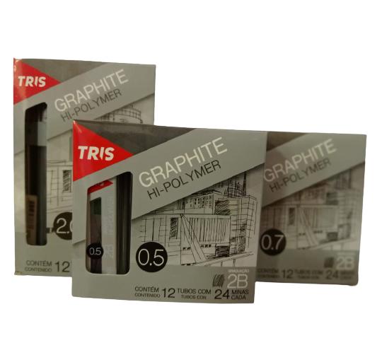GRAFITE TRIS HI-POLYMER 0,5 / 0,7 / 0,9 E 2,0 - CAIXA COM 12 TUBOS